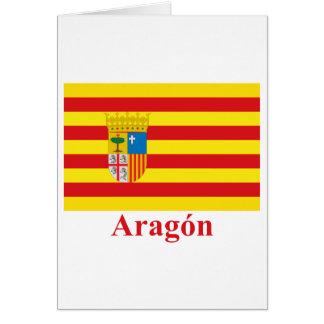 Aragón Flagge mit Namen Karte