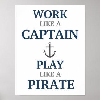 Arbeit wie ein Kapitän Nautical Nursery Print Poster