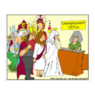 Arbeitslosigkeits-Büro Cartoon mit 339 Göttern Postkarte