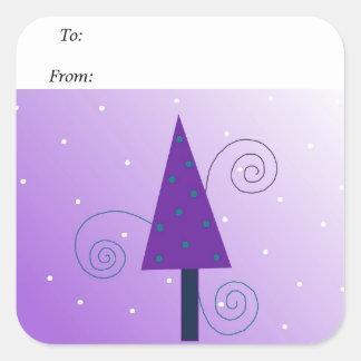 Arbre de Noël lunatique Stickers Carrés