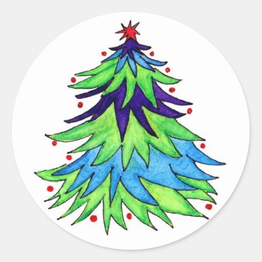 Arbre de Noël lunatique d'aquarelle Adhésif Rond