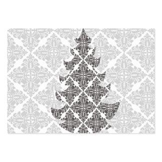 Arbre de Noël noir et blanc de luxe de damassé Modèle De Carte De Visite