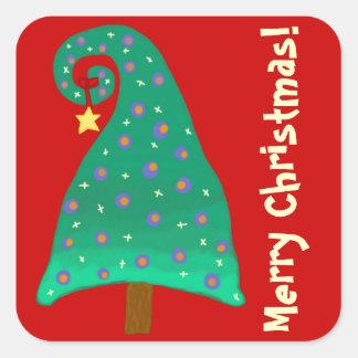 Arbre de Noël vert lunatique Stickers Carrés