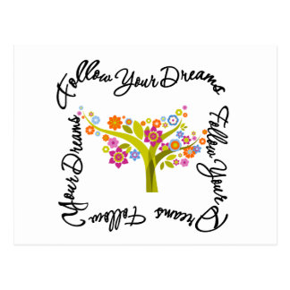 Arbre fleurissant - suivez vos rêves cartes postales