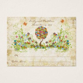 Arbre floral enchanté de conte de fées de cartes de visite