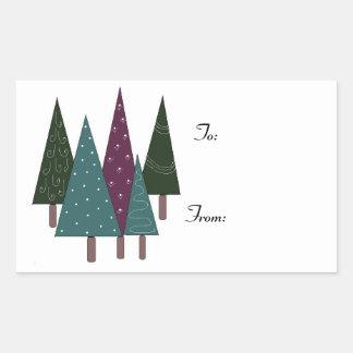 Arbres de Noël lunatiques Stickers Rectangulaires