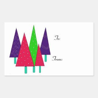 Arbres de Noël lunatiques lumineux Autocollant Rectangulaire