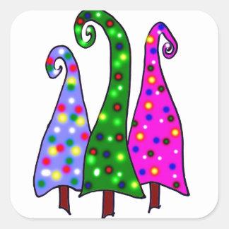 Arbres de Noël lunatiques Sticker Carré