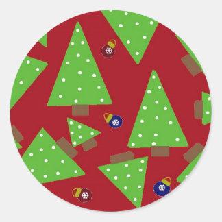 Arbres et décorations de Noël lunatiques Adhésif Rond