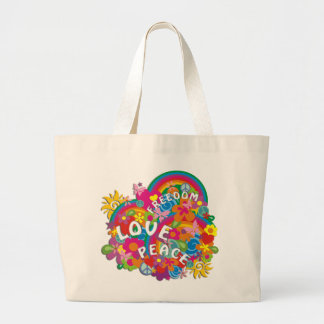Arc-en-ciel de flower power sacs de toile