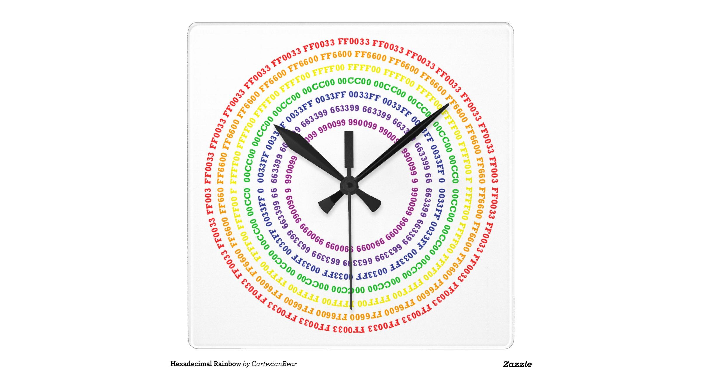 Arc en ciel hexadecimal horloge carree - Horloge murale carree ...