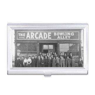 Arcade-Bowlings-Gasse Vintage Retro Visitenkarten Dose