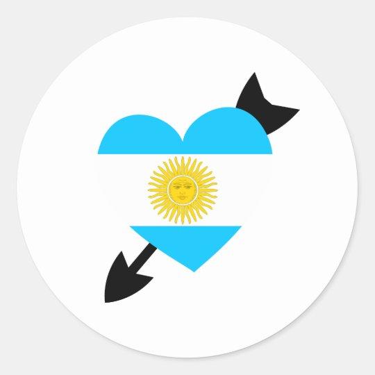 Argentinien-Flaggen-Herz Runder Aufkleber