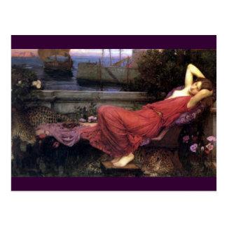Ariadne, das auf eine Couch stützt Postkarte
