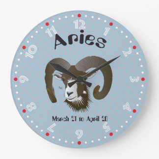 Aries March 21 to April 20 Wall Clocks Große Wanduhr