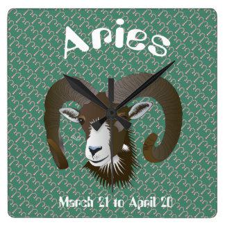 Aries March 21 to April 20 Wall Clocks Quadratische Wanduhr