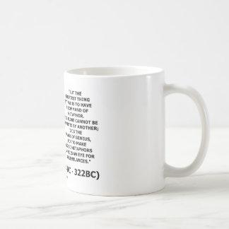 Aristoteles-Befehl des Metapher-Kennzeichens des Kaffeetasse