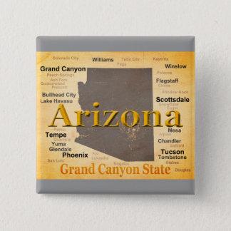 Arizona alterte Karte Quadratischer Button 5,1 Cm