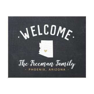 Arizona-Familien-Monogramm-Willkommensschild Leinwanddruck