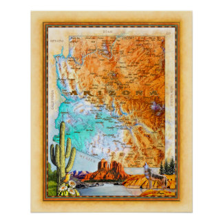 """Arizona-Karte "" Poster"
