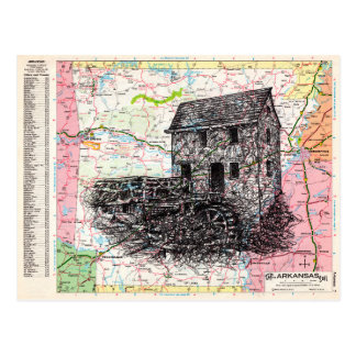 Arkansas-Karten-Kunst Postkarte