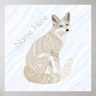 Arktischer Fox Retro Chic-niedliches Poster