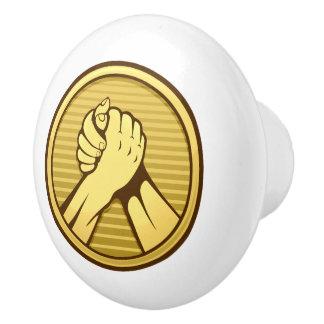 Arm-Wrestling Gold Keramikknauf