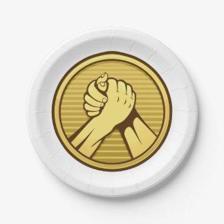 Arm-Wrestling Gold Pappteller