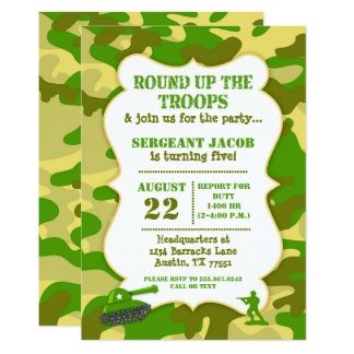 Army Toy Soldier Birthday Invitation Camouflage Karte