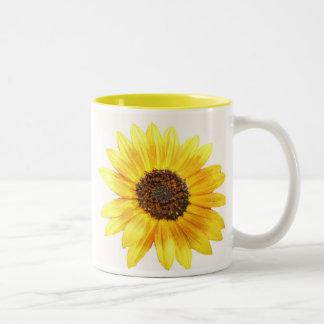 Arrêtez et sentez les fleurs mug bicolore
