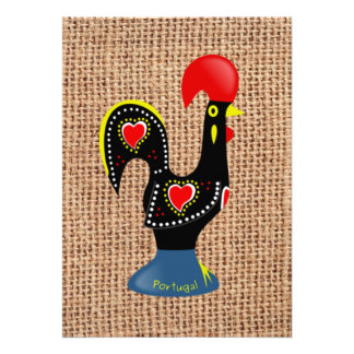 Arrière - plan mignon de toile de jute de Barcelos Cartons D'invitation