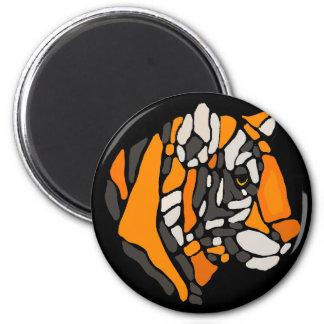 Art abstrait de tigre frais artistique magnet rond 8 cm