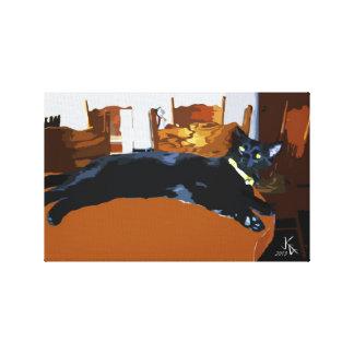 Art abstrait de toile du chat noir 6 toiles