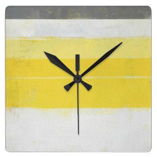 """Art abstrait gris et jaune """"citrique"""" horloge carrée"""