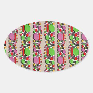 Art ABSTRAIT lunatique : Motif artistique simple Stickers Ovales