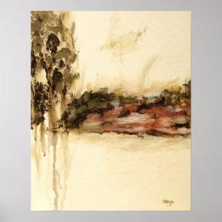 Art ambigu et abstrait de paysage, couleurs poster