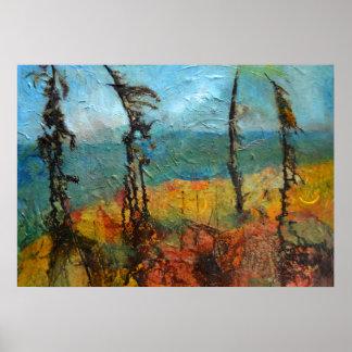 Art balayé par le vent de pins posters