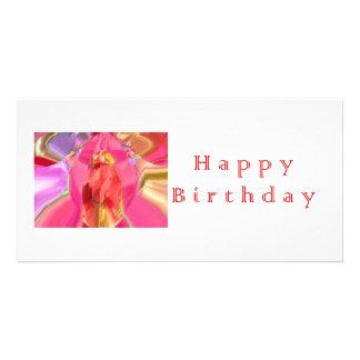 Art de pétale de RedRose PinkRose de joyeux annive Cartes Avec Photo