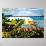 Art de Winslow Homer : Jardin d'agrément et pavill Affiche