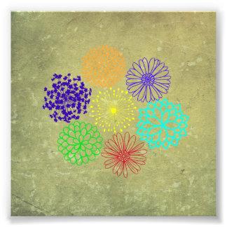 Art déco de fleur d'arc-en-ciel photos sur toile