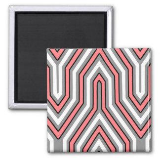 Art déco géométrique - corail, gris et blanc aimant pour réfrigérateur