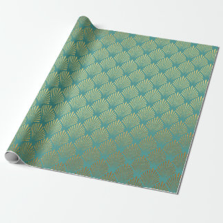 Art Deco Gold Seashells Mint Green Vip Yacht Club Geschenkpapier