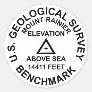 Art-Festpunkt Mt. Rainer USGS Runder Aufkleber