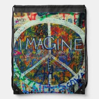 Art hippie de mur sac avec cordons
