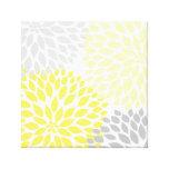 Art jaune et gris de mur de carré de dahlia toile tendue