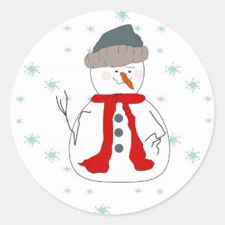 Art primitif lunatique de chute de neige de sticker rond