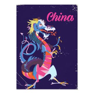 Art-Reiseplakat des China-Drachen Vintages 11,4 X 15,9 Cm Einladungskarte