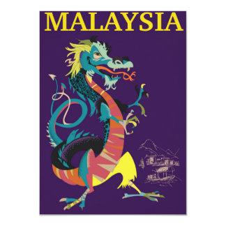 Art-Reiseplakat Malaysia-Drachen Vintages 11,4 X 15,9 Cm Einladungskarte