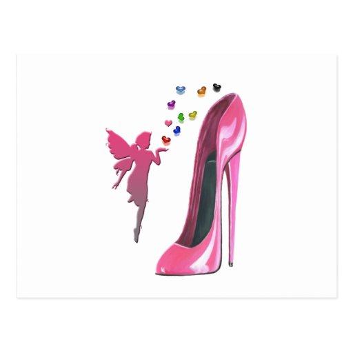 Art rose de chaussure de fée et de stylet carte postale