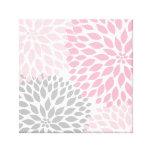 Art rose et gris de mur de carré de dahlia impression sur toile